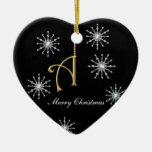Monogramme flocons de neige en forme de coeur de N Ornements De Noël