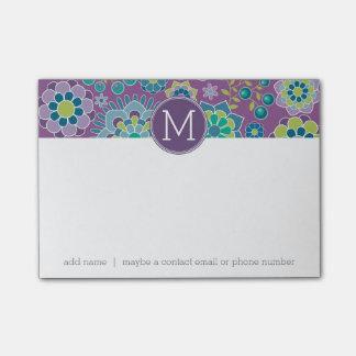 Monogramme floral coloré génial de coutume de post-it®