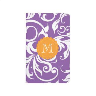 Monogramme floral orange pourpre assez violet de carnet de poche