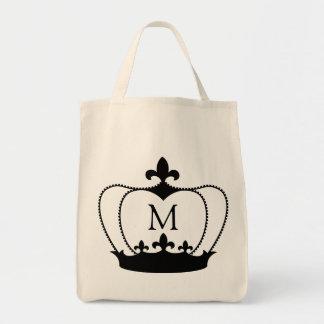 monogramme Fourre-tout de la couronne Fleur-De-lis Sac En Toile Épicerie