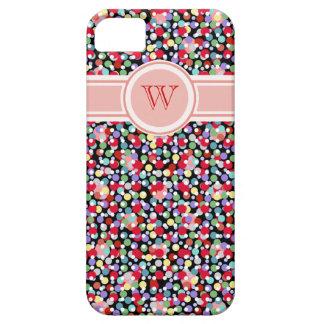 monogramme girly de motif coloré de à petits pois coques Case-Mate iPhone 5