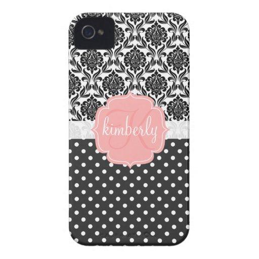 Monogramme Girly élégant de rose noir et blanc de  Coques Case-Mate iPhone 4