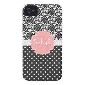 Monogramme Girly élégant de rose noir et blanc de Étuis iPhone 4