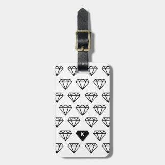 Monogramme graphique d'initiale de diamant étiquettes bagages
