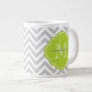 Monogramme gris et vert de coutume de Chevron Mug Jumbo