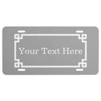 Monogramme initial principal grec blanc gris-foncé plaque d'immatriculation
