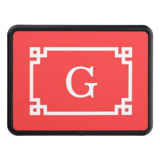 Monogramme initial principal grec blanc rouge de couvertures remorque d'attelage