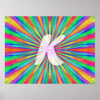 Monogramme K d'éclat d'arc-en-ciel Affiche