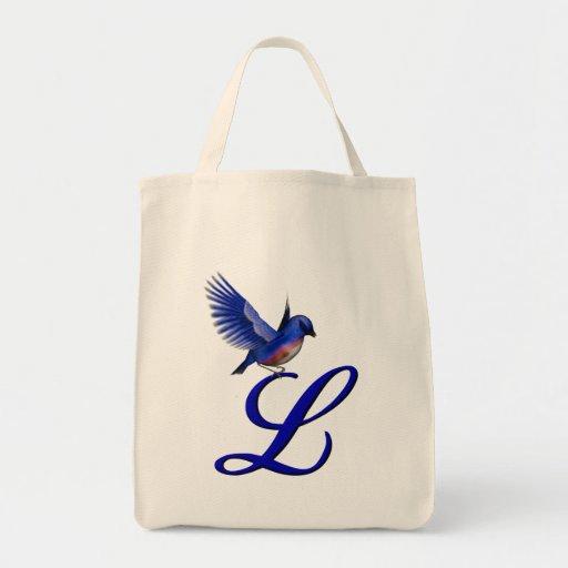 Monogramme L initial sac fourre-tout à oiseau bleu