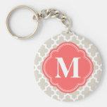 Monogramme marocain moderne beige et de corail de  porte-clefs