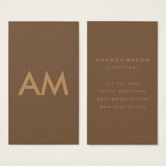 Monogramme minimaliste Brown Cartes De Visite