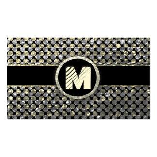Monogramme moderne d'or et d'argent cartes de visite personnelles