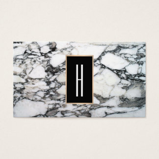 Monogramme moderne, marbre noir et blanc, pierre cartes de visite