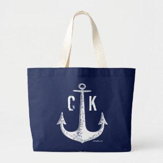 Monogramme nautique vintage d'ancre bleue grand sac