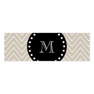 Monogramme noir beige du motif | de Chevron Carte De Visite Petit Format