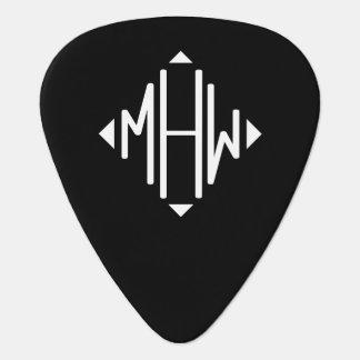 Monogramme noir de forme de diamant d'initiales du onglet de guitare