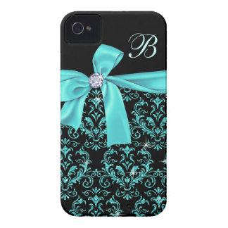 Monogramme noir élégant d arc de diamant de damass coques Case-Mate iPhone 4