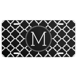 Monogramme noir et blanc de coutume de motif de plaque d'immatriculation
