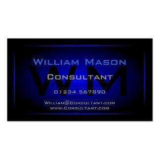 Monogramme noir et bleu-foncé frais - carte de vis cartes de visite personnelles