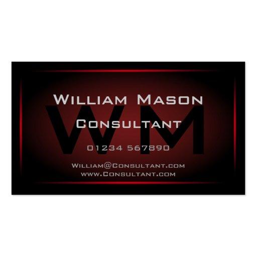 Monogramme noir et par rouge encadré - carte de vi modèles de cartes de visite
