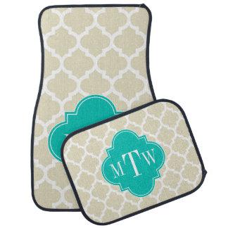 Monogramme nommé turquoise beige d'atterrisseur tapis de sol