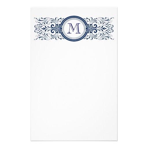 Monogramme personnalisable fleuri stationnaire papier à lettre personnalisable