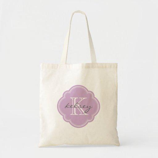 Monogramme personnalisé par coutume pourpre lilas sacs de toile