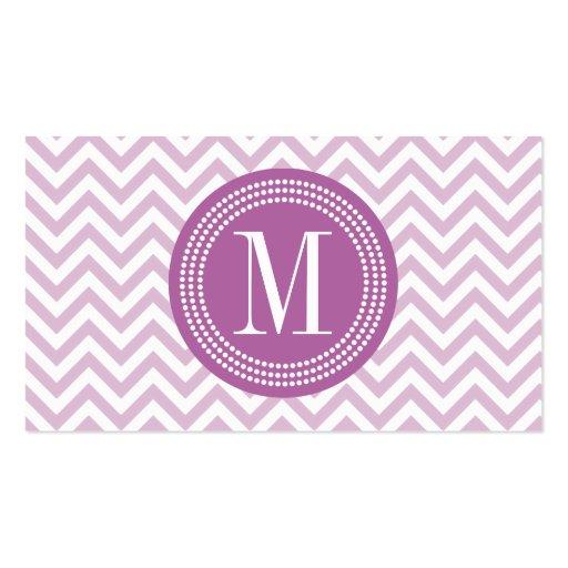 Monogramme personnalisé par zigzag lilas de Chevro Modèle De Carte De Visite