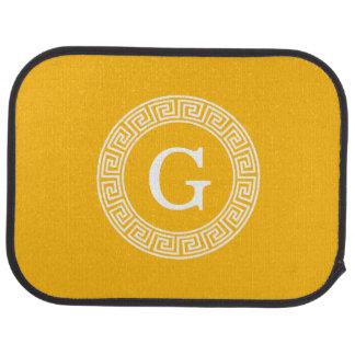Monogramme principal grec blanc doré d'initiale de tapis de sol