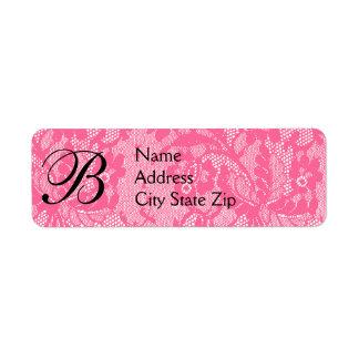 Monogramme rose de dentelle étiquette d'adresse retour