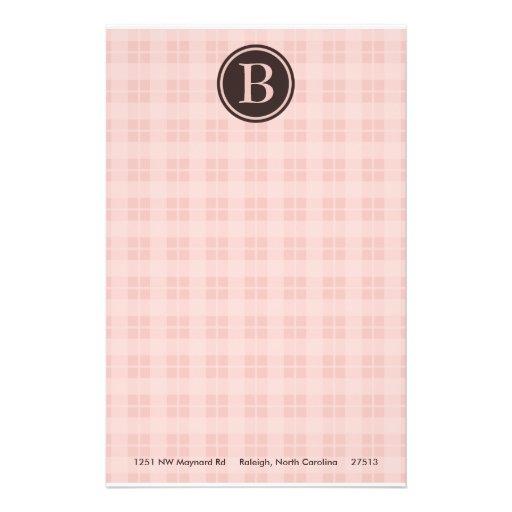 Monogramme rose de plaid stationnaire papiers à lettres
