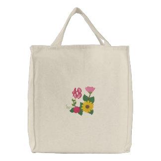 Monogramme rose de tournesol sacs brodés