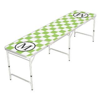 Monogramme simple avec le damier de vert jaune table beerpong