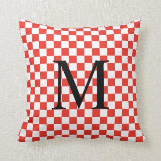 Monogramme simple avec le motif rouge de damier coussin