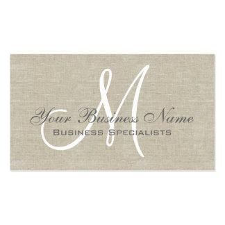 Monogramme simple simple gris de toile beige carte de visite standard