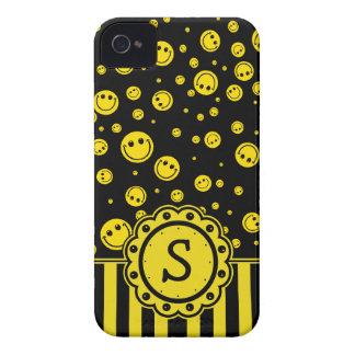 Monogramme souriant de PolkaDot Coques Case-Mate iPhone 4