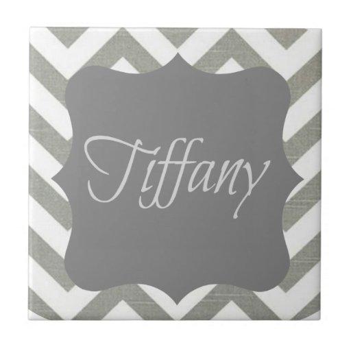 Monogramme Tiffany Chevron Carreaux