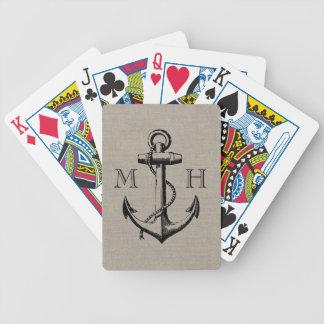 Monogramme vintage de très bon goût de mariage cartes à jouer
