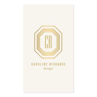 Monogramme vintage II d'initiales d'art déco d'or Carte De Visite Standard