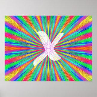 Monogramme X d'éclat d'arc-en-ciel Affiches