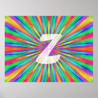 Monogramme Z d'éclat d'arc-en-ciel Posters