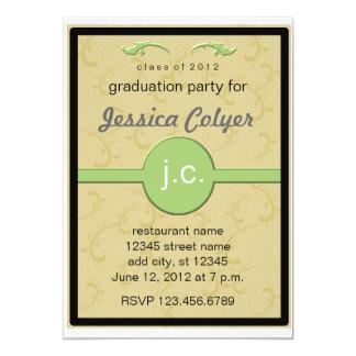"Monogrammed 2012 Graduation Party 5"" X 7"" Invitation Card"