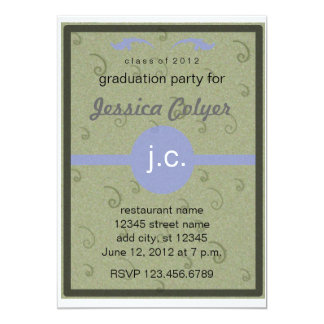 "Monogrammed 2012 Graduation Party 5"" X 7"" Invitation Card"