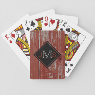Monogrammed 3 Letters | Rustic Barn Wood Red Playing Cards