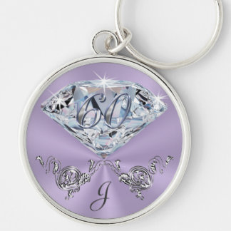 Monogrammed 60th Birthday Gift Ideas for Her Silver-Colored Round Keychain
