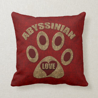 Monogrammed Abyssinian Cat Breed Throw Pillow