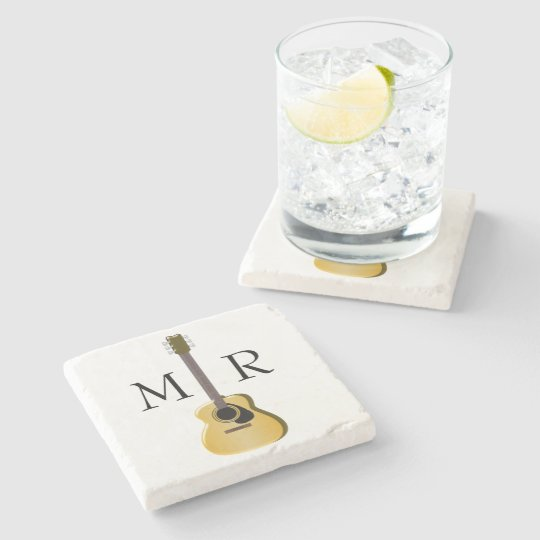 Monogrammed Acoustic Guitar Stone Coaster