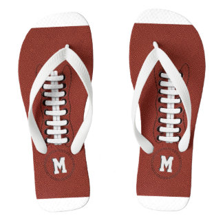 Monogrammed American Football Sporty Flip Flops