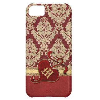 Monogrammed Antique Damask Gold Red Pomegranate Case-Mate iPhone Case