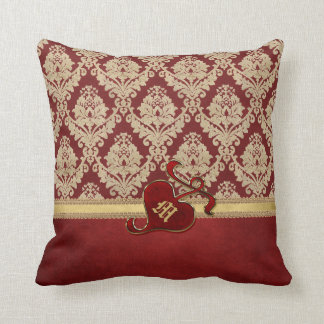 Monogrammed Antique Damask Gold Red Pomegranate Throw Pillow